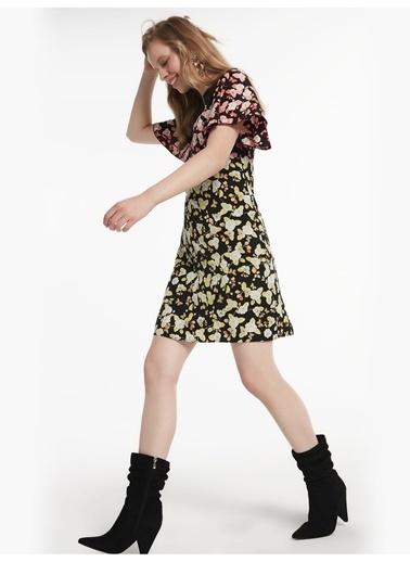 Twist Dantel Mixli Kumaş Geçişli Elbise Siyah